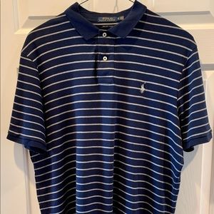Ralph Lauren navy blue gray striped men's polo